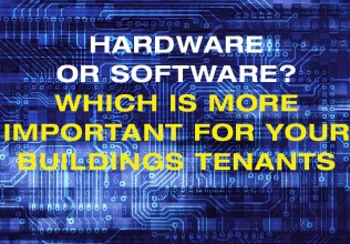 The words hardware or software on electronic blue background