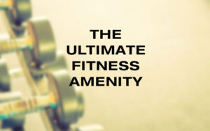 Weights with the words the ultimate fitness amenity on top