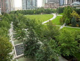 Outdoor fitness space for Park at Lakeshore East Unicus Fitness class